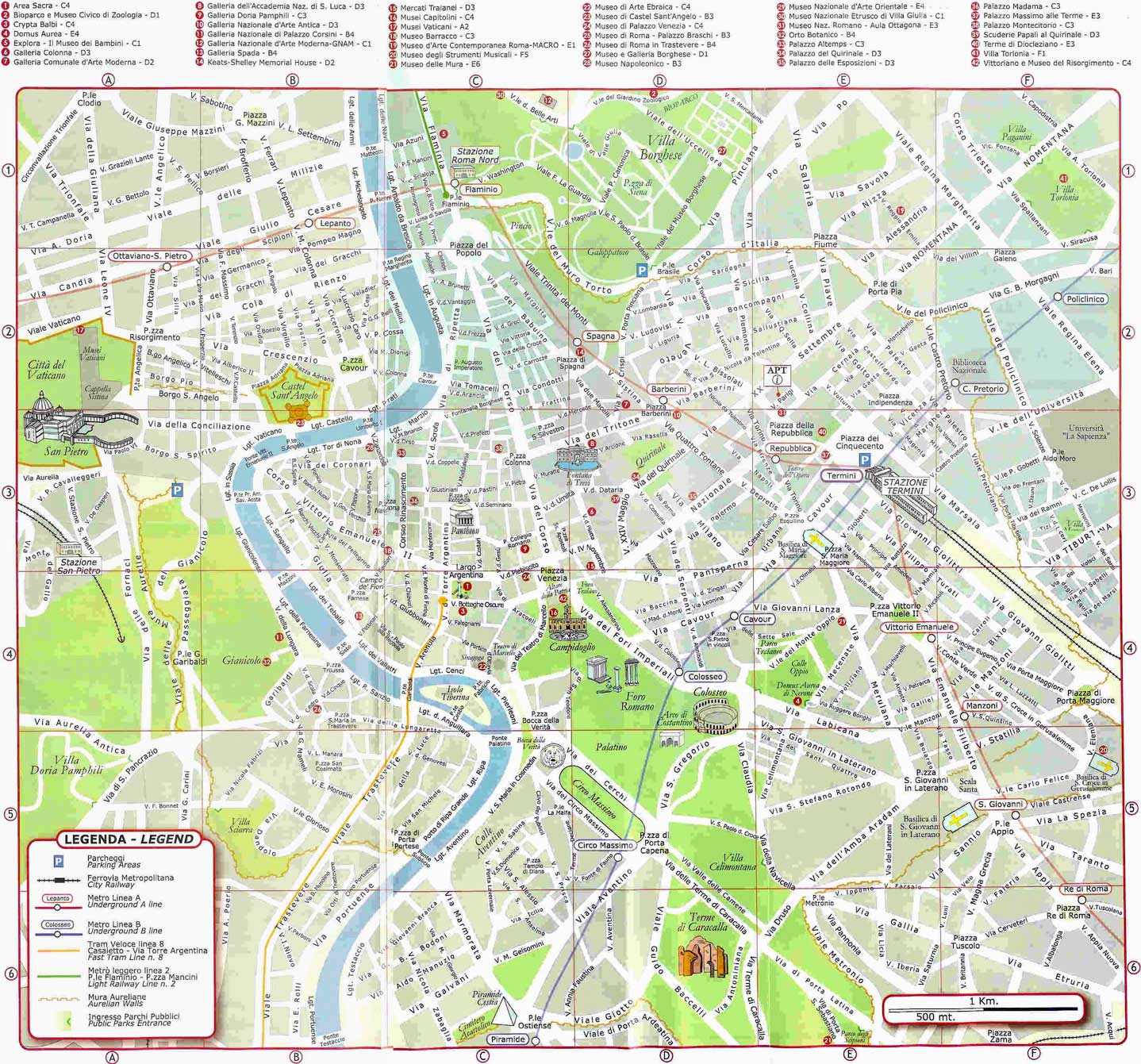 Ambitious image for printable walking map of rome